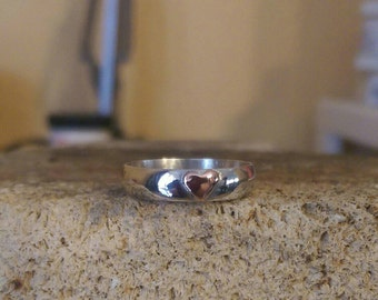Custom Made Sterling Silver and Copper Sweet Heart Ring