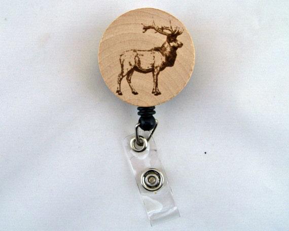 elk name badge holder laser engraved wapiti wood slice etsy