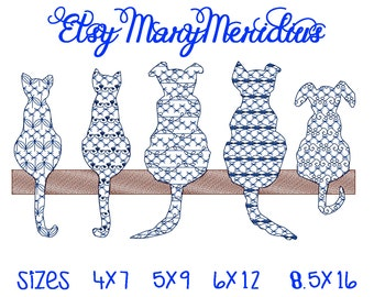 INSTANT-Machine Embroidery Design Download~MaryMeridius~Adorable Cat & Dogs on a fence / sil~Pop art~Gift~Pet owner~SIZES: 4x7 to 8.5x16 WOW