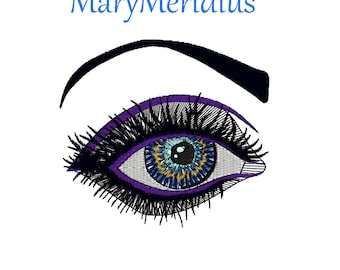 Instant download~MaryMeridius~machine embroidery design~LOOKING EYE~eyeball~all seeing~emo~punk~beautiful face~thread art~4x4 hoop~weird