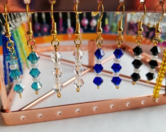 "Austrian Crystal Earrings - ""Swarovski-like"" - Handmade"