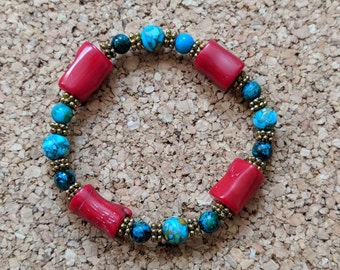 Earth Meets Mars Stretch Bracelet w/ Ocean Blue and Red Beads -- EmmeAndHays