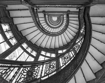 Chicago Decor, Abstract Rookery Photo Print, Canvas Wall Art, The Rookery  Stairs, Oriel Staircase, Spiral Staircase, Frank Lloyd Wright