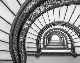 Chicago Wall Art, The Rookery, Oriel Staircase, Spiral Staircase, Frank  Lloyd Wright, Chicago Art, Chicago Architecture, Stairs Wall Art