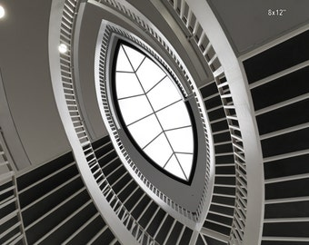Chicago Architecture  Spiral Staircase At Contemporary Art Museum, Abstract  Black And White Print, Surreal Decor, Inspirational Modern Art