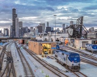 Chicago Photography, Train Photography, Railroad Photography, Train Photo, Chicago Skyline, Chicago Photo, Chicago Train Yard, Blue, Grey