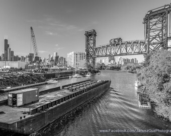 Chicago Photography-  Pennsylvania Railroad Bridge over Chicago River Black and White Art Print, Photo, Wall Art