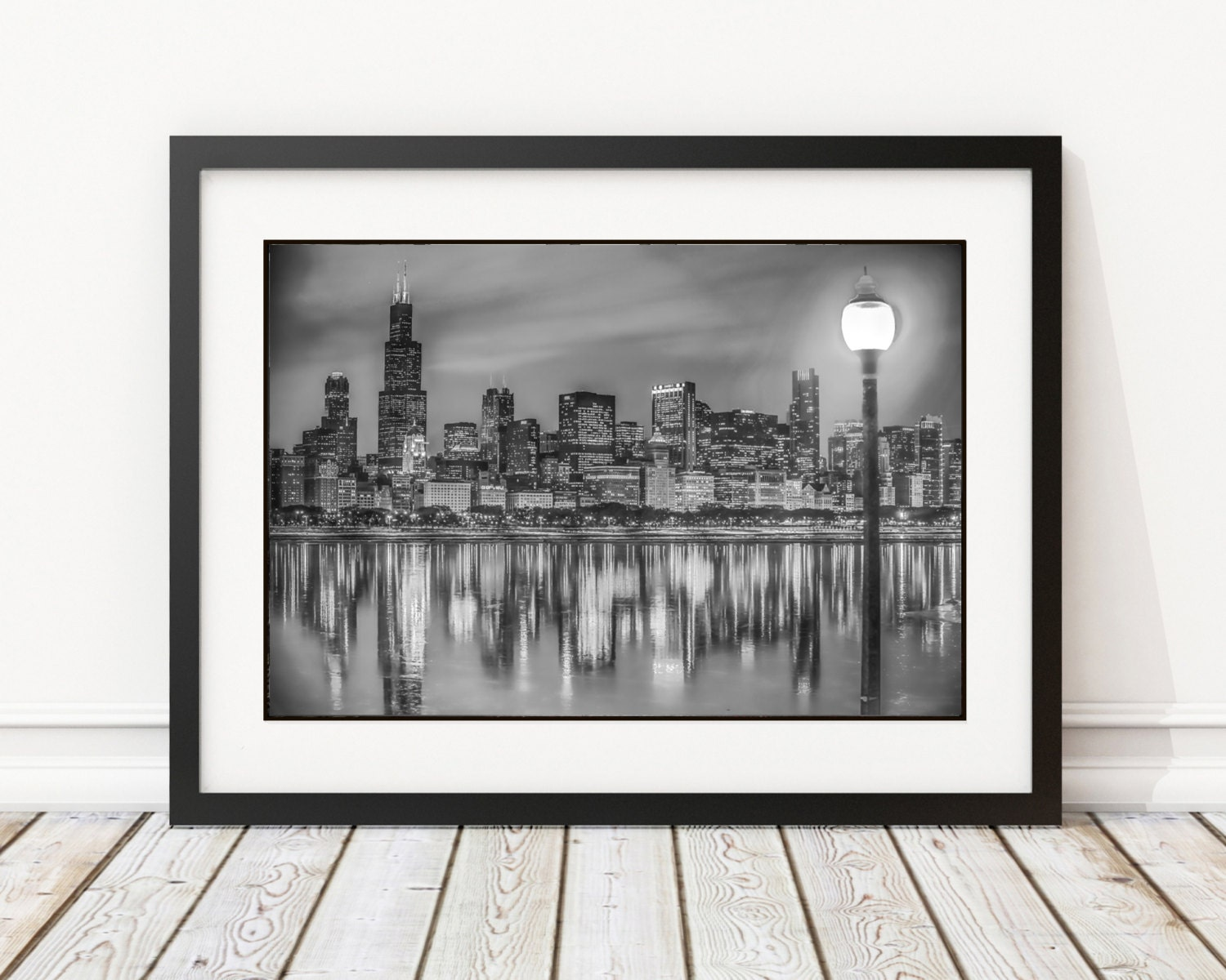 Black And White Chicago Skyline Frame 14x18 Or 18x24 Etsy