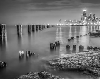 Chicago Photograph, Chicago Skyline Decor, Scenic, City Lights, Chicago Black and White Photo Print, 8x10, Chicago Wall Art, Chicago Poster