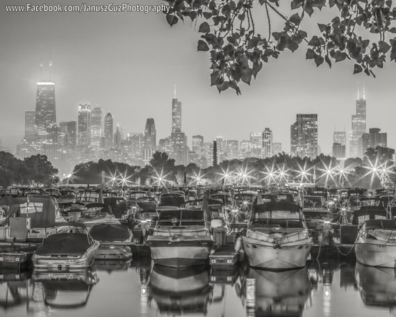 Canvas Lincoln Tech >> Chicago Photography Lincoln Park Boats In Lagoon Chicago Skyline Black And White Photo Chicago Canvas Wall Art Chicago Art Framed