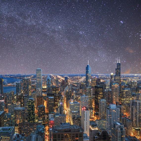 Chicago Skyline Night Photography Chicago Vertical Photo Etsy
