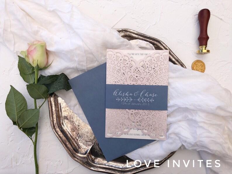 27ae4a07cc3 Dusty Blue and Blush Wedding Invitation Rustic dusty blue
