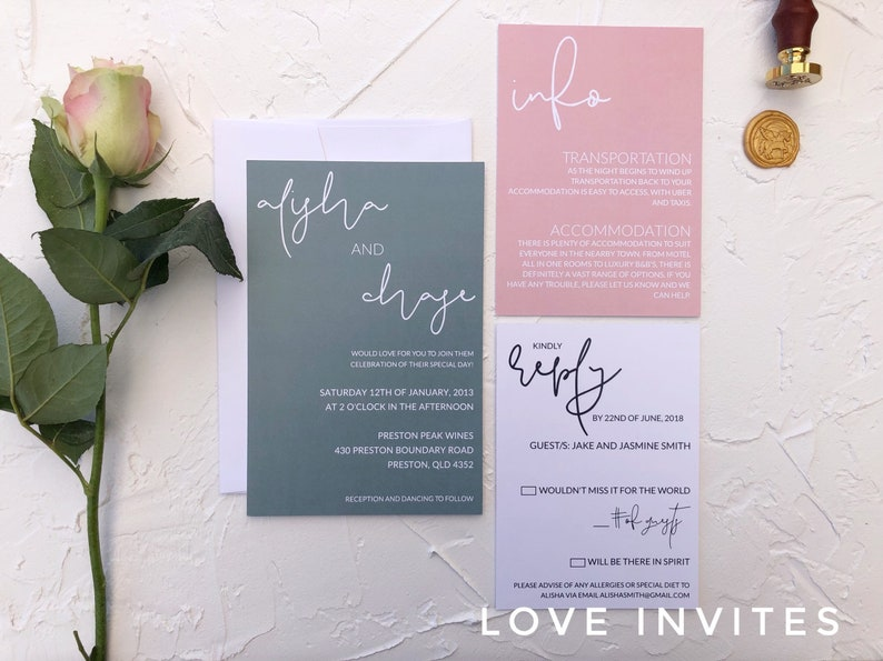 Sage wedding invitation suite sage and dusty pink wedding invitations design only dusty pink wedding invites printable The Molly