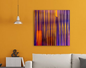 """Fine Art Abstract Giclée Print • Square Canvas Abstract Photography • Colorful Wall Art Colors Orange Yellow Purple Stripes • """"Abstract 92"""""""