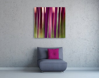 """Abstract Giclée Print • Square Canvas Abstract Photography • Colorful Wall Art Colors Green Pink Fuchsia Purple Stripes • """"Abstract 101"""""""