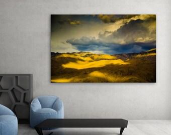 "Landscape Photo Print • Fine Art Photography Wall Art • Yellow Sierra Stormy Sky Clouds Mountains, Eastern Sierra, California • ""Illumined"""