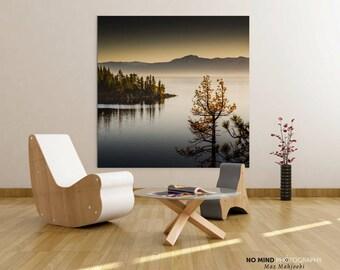 "Fine Art Landscape Photo Print • Lake Water Dusk Trees Zen • Elegant Lake Tahoe Photography • Square Print • Canvas Wrap • ""Gentle View"""
