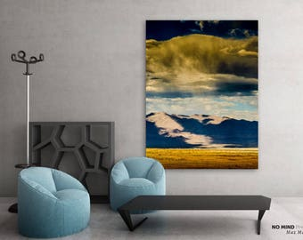 """Landscape Photo Print • Fine Art Photography • Blue Yellow Sierra Stormy Sky Clouds Rain Mountains, Owens Valley, California • """"Deliverance"""""""