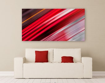 """Abstract Wall Art • Fine Art Photo Print • Canvas Wrap Fine Art Abstract Photography Diagonal Stripes Bands Red Black White • """"Abstract 97"""""""