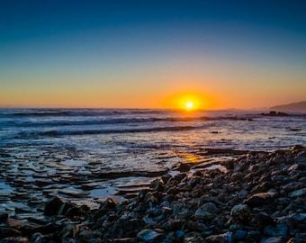 "Coastal Landscape Photo • Fine Art Print • Wall Art • Canvas Wrap • Aqua Blue Yellow Sea Seascape Ocean Sunset Sun Sky Coast • ""Tide 3"""