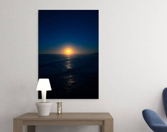 "Landscape Photo • Fine Art Print • Wall Art • Canvas Wrap • Dark Blue Yellow Sea Seascape Ocean Sunset Sun Sky California Coast • ""Tide 2"""
