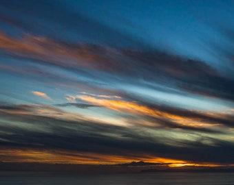"Landscape Photo Print • Fine Art Photograph • Dark Blue Sky Dusk • Sunset Print • Ocean Sea Clouds Water Seascape • ""Landscape 10"""