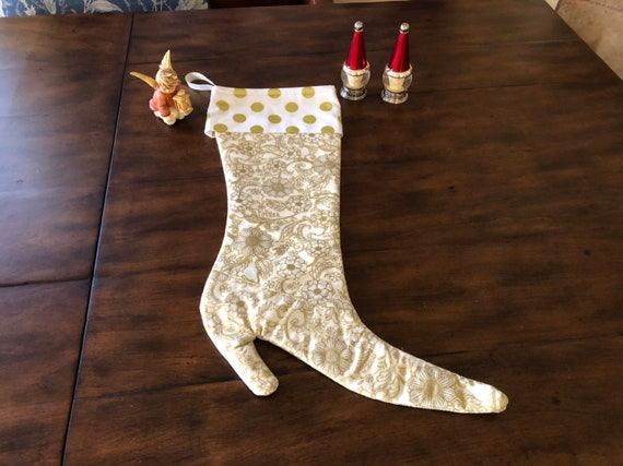 Victorian Christmas Stockings.A Gold Victorian Christmas Stocking