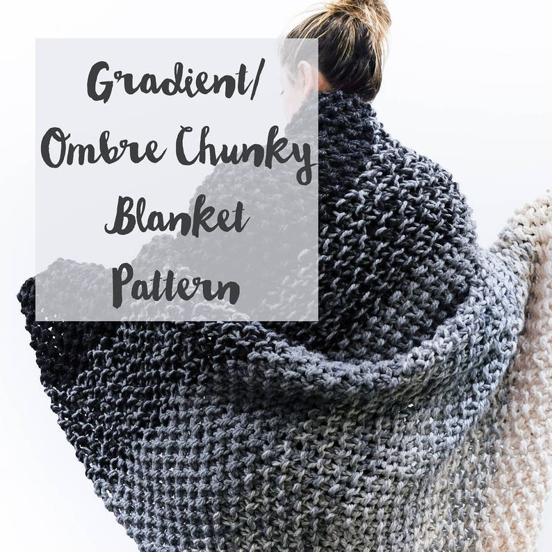 Chunky Knit Blanket Pattern: Gradient Ombre Color image 0