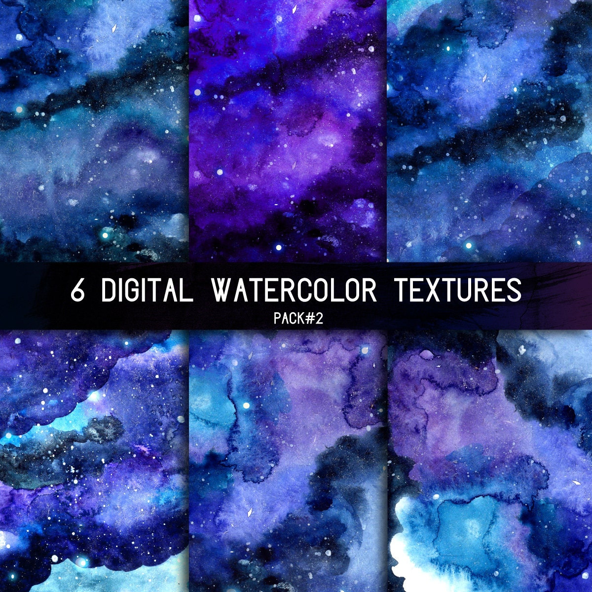 Space Watercolor Background Digital Night Sky Texture With