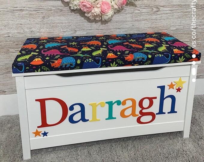 Personalised toy box Bright Dinosaur style