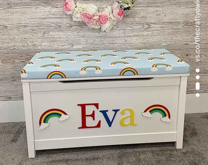 Personalised Rainbow toy box