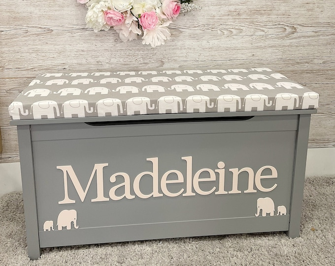 Personalised Grey toy box with elephants