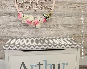 Personalised toy box Chevron style