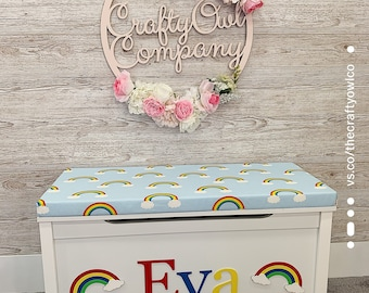 Personalised Rainbow & Cloud  toy box