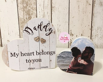 dad - daddy - Father's Day gift - wooden heart - first Father's Day