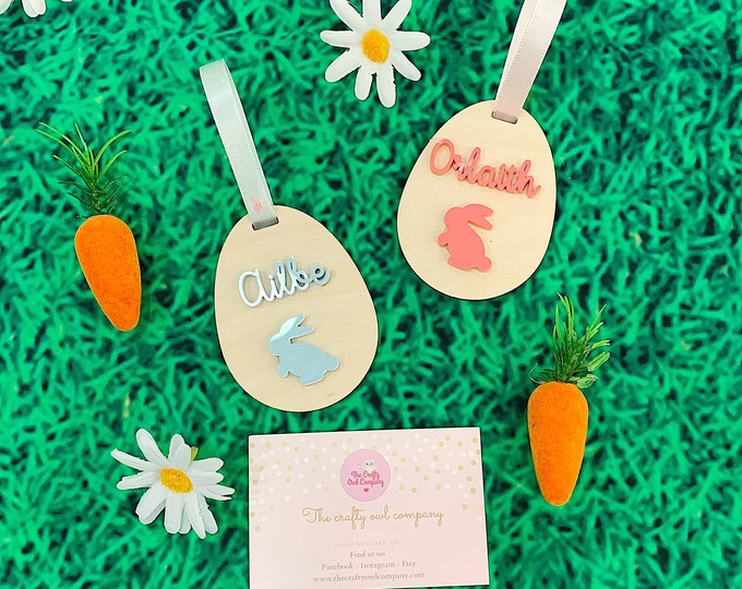 Easter decorations - Personalised wooden Easter egg