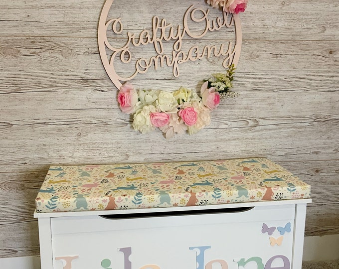 Personalised toy box Spring Bunny style