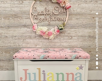 Personalised toy box Dreamy Unicorn Style