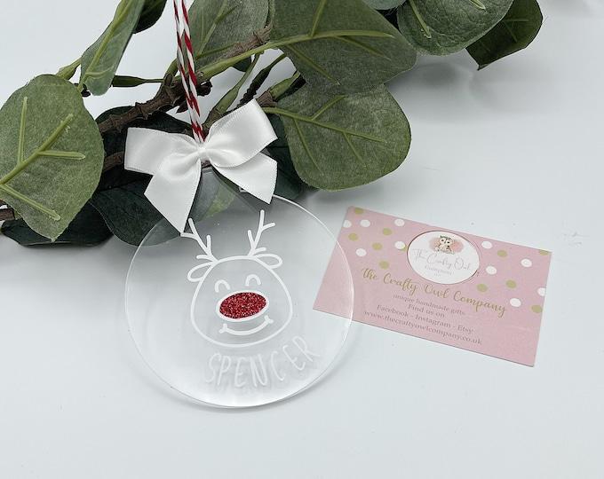 Personalised acrylic reindeer bauble