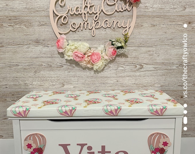 Personalised Floral Balloon toy box