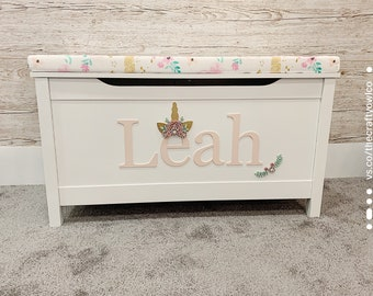 Personalised Floral Unicorn toy box