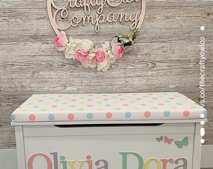 Personalised toy box Pastel Spotty style