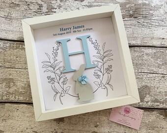 New baby rabbit themed frame - christening gift
