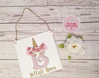 Personalised unicorn door sign