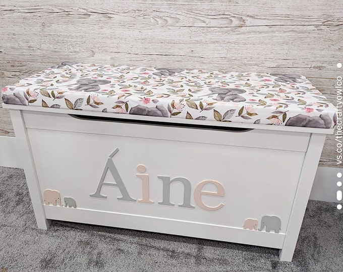 Personalised Pretty Elephant toy box