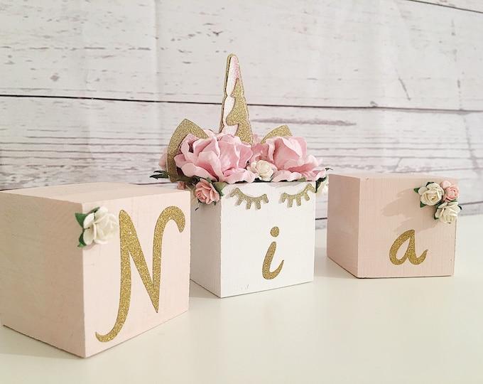 Unicorn Wooden name blocks