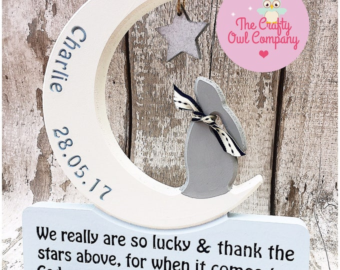 Christening star gazing bunny personalised gift
