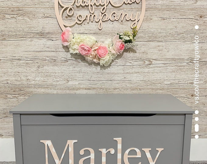 Personalised Toy Box Grey