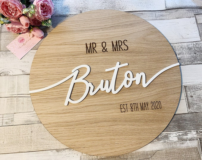 Wooden wedding sign - personalised wedding guestbook
