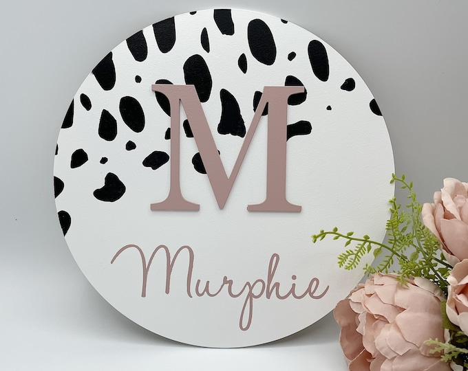 Personalised spotty Wooden name plaque